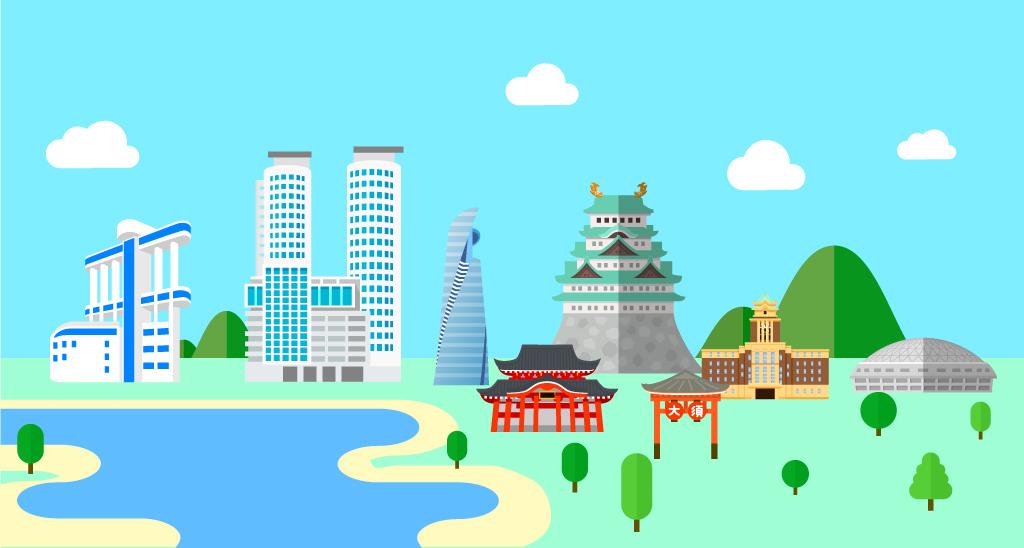 名古屋城、大須など名古屋の風景
