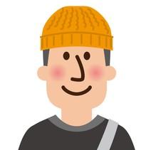 ニット帽子をかぶった男子高校生